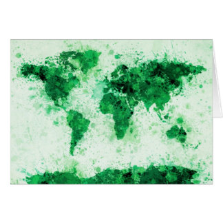 World Map Paint Splashes Green Card