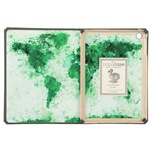 World Map Paint Splashes Green Case For iPad Air