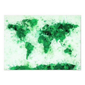 World Map Paint Splashes Green 5x7 Paper Invitation Card