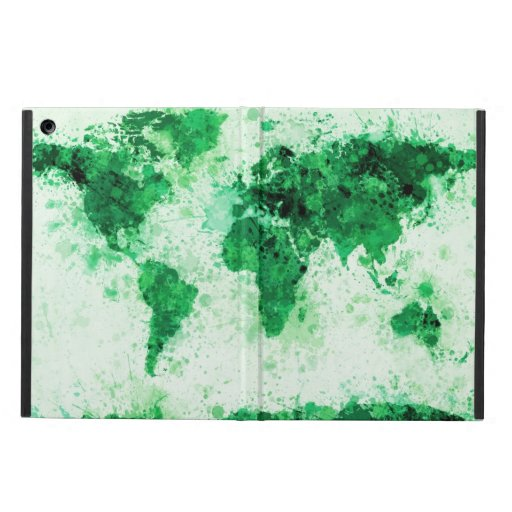 World Map Paint Splashes Green iPad Air Cases