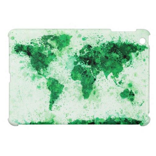 World Map Paint Splashes Green iPad Mini Cases