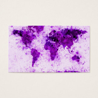 World Map Paint Splashes Purple Business Card