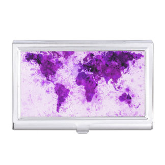 World Map Paint Splashes Purple Case For Business Cards