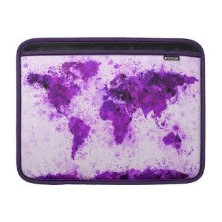 World Map Paint Splashes Purple MacBook Sleeves