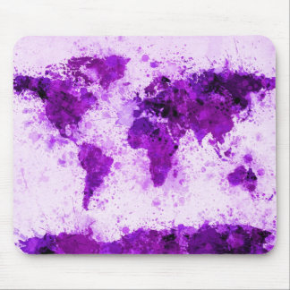 World Map Paint Splashes Purple Mouse Pad