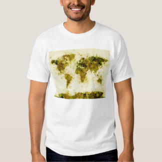 World Map Paint Splashes Yellow T-Shirt