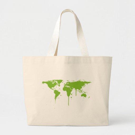 World Map Painted Green Graffiti Tote Bag