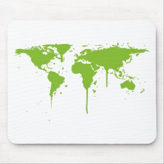 World Map Painted Green Graffiti Mousepad