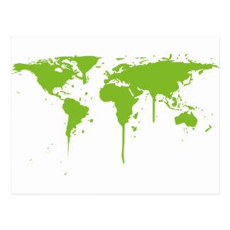 World Map Painted Green Graffiti Postcard