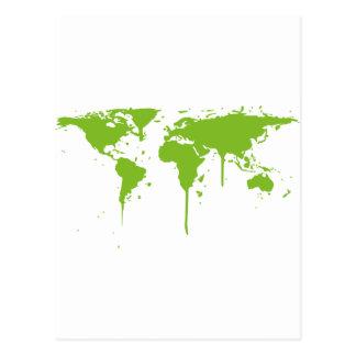 World Map Painted Green Graffiti Post Card