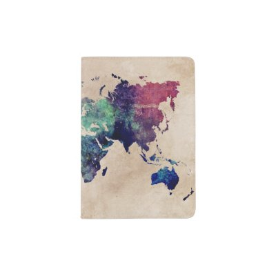 Watercolor world map passport holder zazzle gumiabroncs Image collections