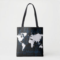 world map & pattern of names on black tote bag