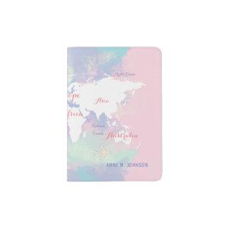 world map pink travel, stylish passport holder