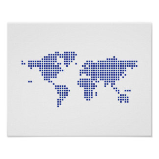 World map pixel poster