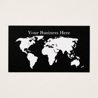World Map Platinum/Black Business Card