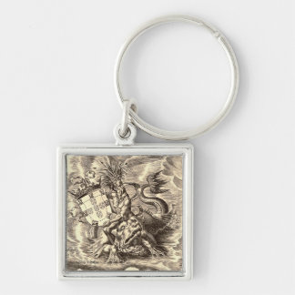 World Map Poseidon Silver-Colored Square Keychain