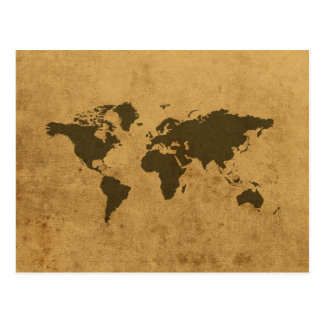 World Map Postcard