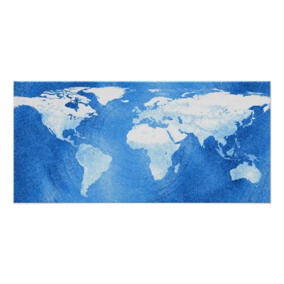 Map of the world in blue and white tones in a grunge vintage style.