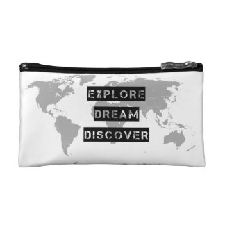 World Map Quote Makeup Bag Typography