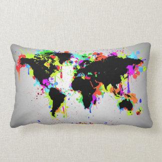 world map rectangle pillow