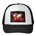 WORLD MAP RED BACKGROUND PRODUCTS HATS