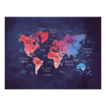 world map red blue poster