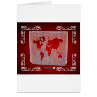 WORLD MAP RED CUSTOMIZABLE PRODUCTS CARD