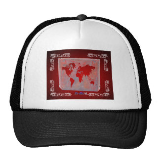 WORLD MAP RED CUSTOMIZABLE PRODUCTS TRUCKER HAT