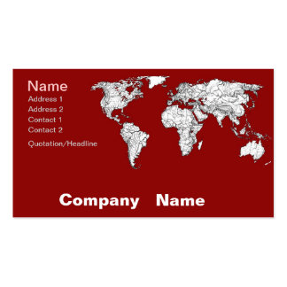 World map red white business card template