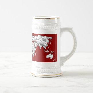 World map red white coffee mugs