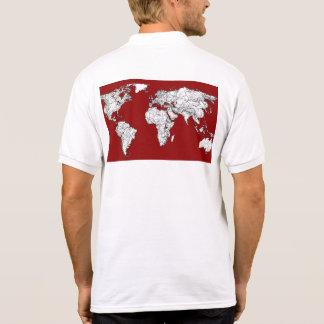 World map red white shirt