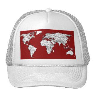 World map red white trucker hat