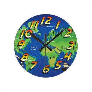 Cartoon earth wall clocks zazzle world map round clock gumiabroncs Gallery