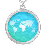 World Map Round Pendant Necklace