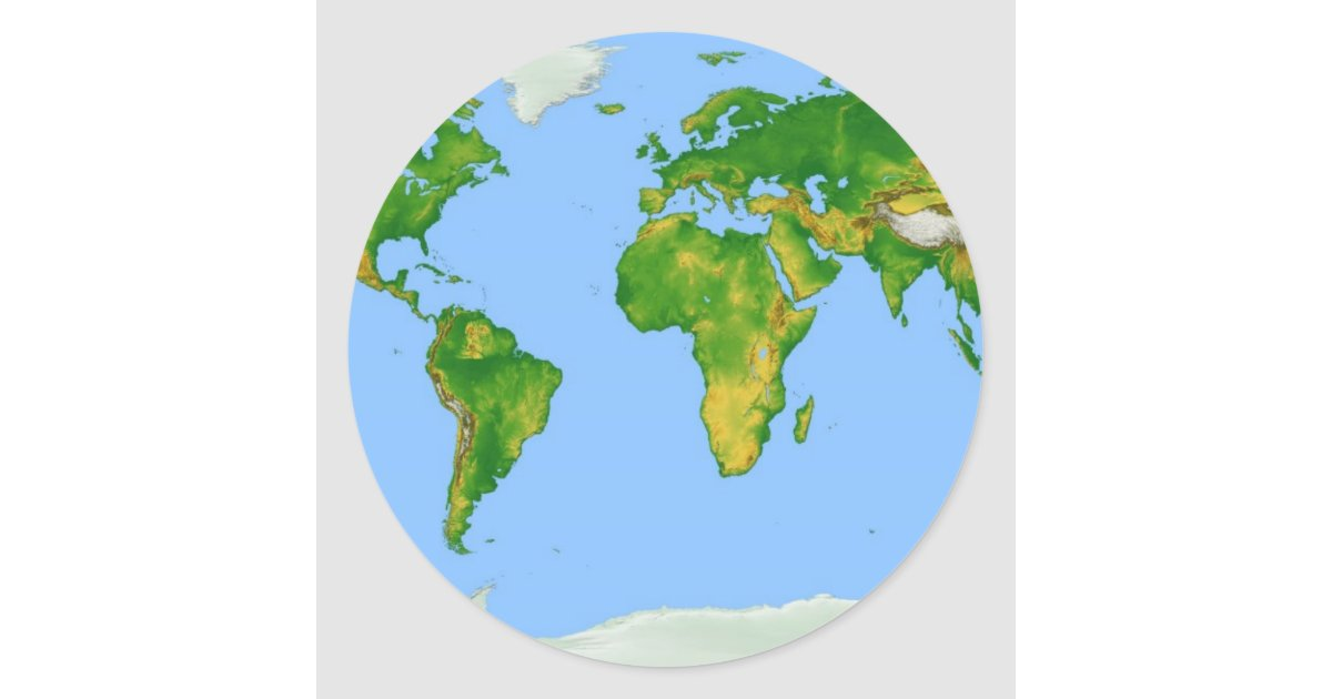 World Map Round Sticker Zazzlecom - Round world map image