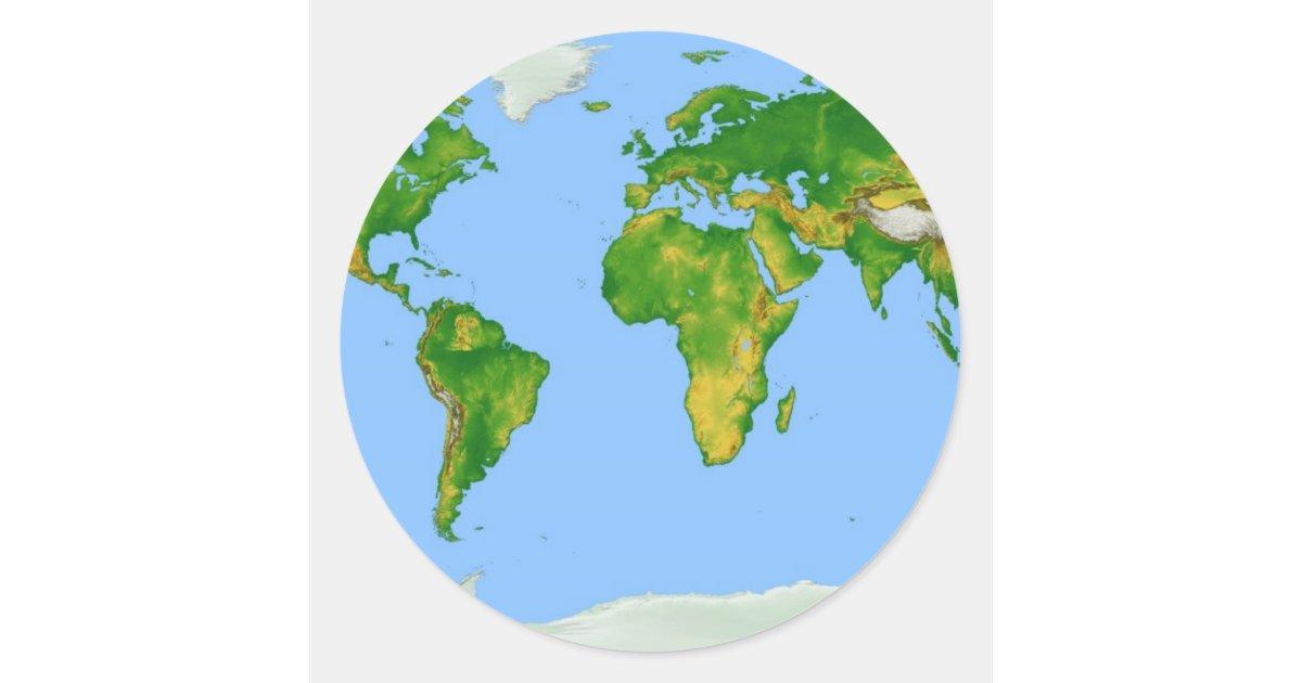 World Map Round Sticker Zazzle