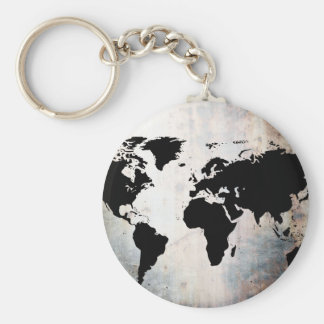 World Map Rusted Metal Basic Round Button Keychain