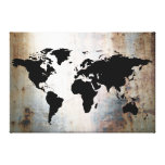 World Map Rusted Metal Canvas Print