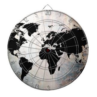 World Map Rusted Metal Dart Board