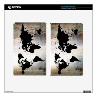World Map Rusted Metal Kindle Fire Skins