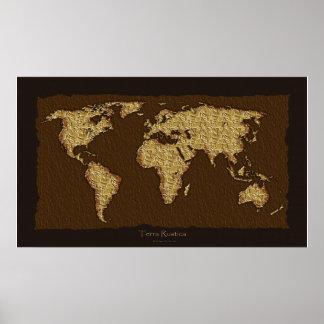 World Map Rustic Art Poster