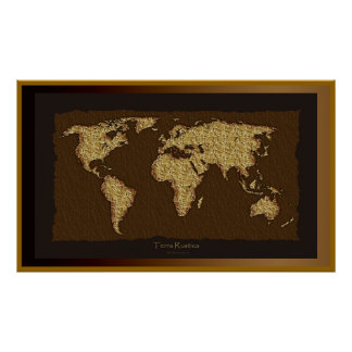 World Map Rustic Art Poster with extra border