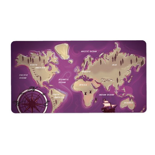 World Map Shipping Labels