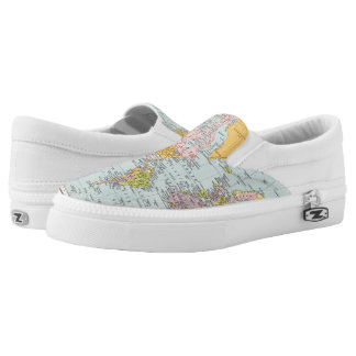 World Map Shoes Printed Shoes