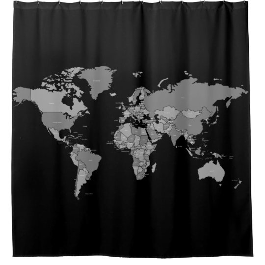 World map shower curtain in black and grey shades zazzle world map shower curtain in black and grey shades gumiabroncs Gallery