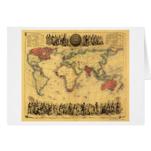 World Map Showing British EmpirePanoramic Map Greeting Card