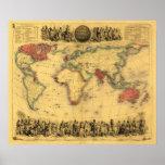 World Map Showing British EmpirePanoramic Map Posters
