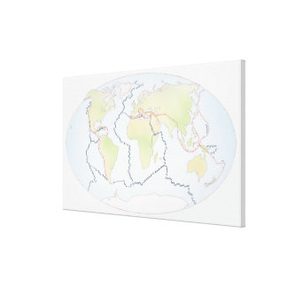 World map showing plate margins canvas print