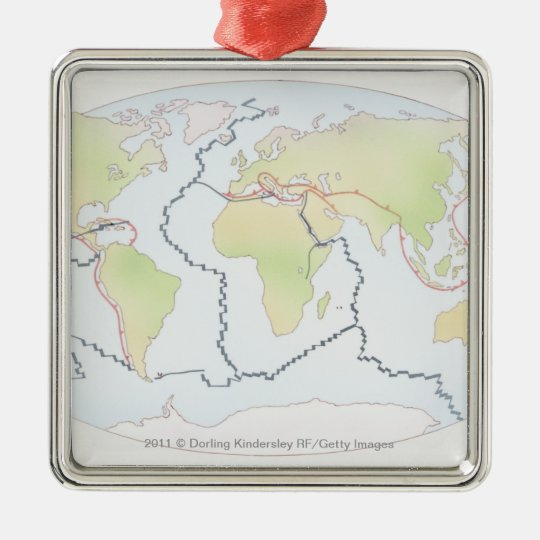 World map showing plate margins metal ornament