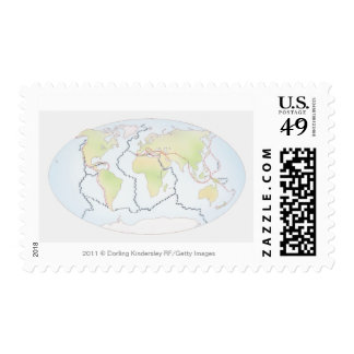 World map showing plate margins stamps